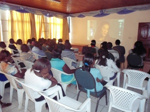 Girls in ICT event in Goma, 2013. Watching the Stoty of Facebook