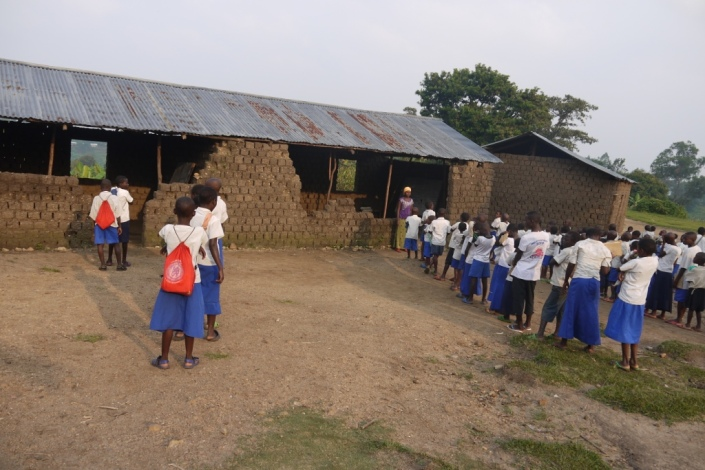 Students line up before classrooms at a school in Idjwi - Eastern DR Congo