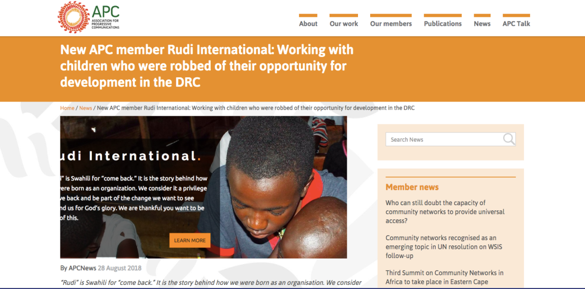 New APC Member Rudi International: Working with children who were robbed of their opportunity for development in the DRC.